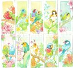 watercolor birds and flowers bookmark by MondoArt