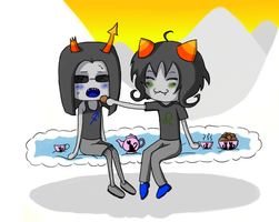 Equius and Nepeta: Tea Party by Slow-kun