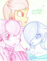 Peach, Rosy and Daisy by Kimeria87