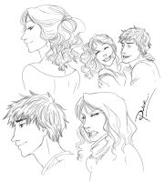 Percy Jackson Quick Sketches by palnk