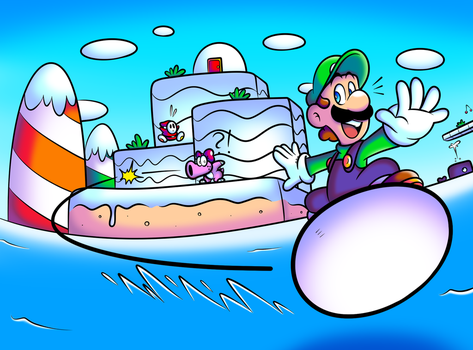 SMB2USA - Egg Surfing Luigi by JamesmanTheRegenold