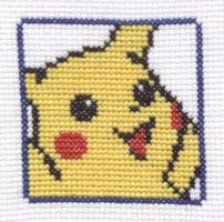 Pokemon Puzzle Challenge Pikachu cross stitch by Lil-Samuu