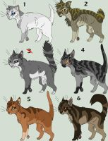 Cat Adoptables Set 1 GONE by Kasara-Designs