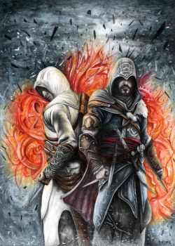 Assassin's Creed Revelations Altair and Ezio by Bajan-Art