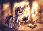 Twilight reading three books by KP-ShadowSquirrel