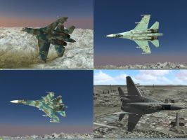 Su-27 and MiG-29 over Caucasus by MaulerMech