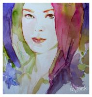 watercolor, woman by HitomiOsanai