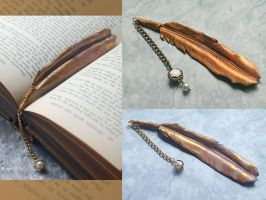 Golden Angel Feather Bookmarks by Angelic-Artisan
