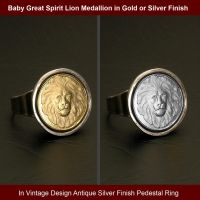 Great Spirit Lion Medallion in Vintage Design Ring by dlstancel