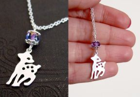 Silver Deer Fawn necklace by yael360