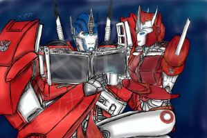 Cozzing up Together~ Optimus and Causeway by Lady-Elita-1