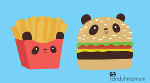Panda Burger - Burger and Fries by Panduhmonium