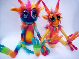 Rainbow Tie-Dye goblins by Tanglewood-Thicket