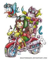 Riding a motorbike by reactormako