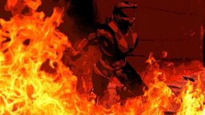 Spartan in fire. by GMer56