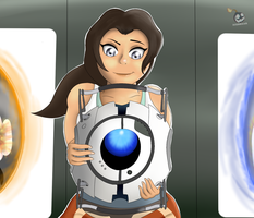 Chell and Wheatley by IceBreak23