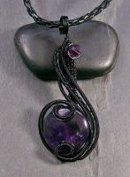 Amethyst and Black Coriolis Pendant by HeatherJordanJewelry