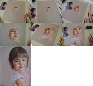 In progress scans of colored pencil drawing Clara at 15 Months