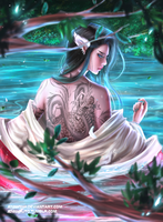 The Girl with the Tattooed Back by jennyshiii