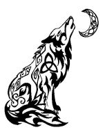 Howling Wolf - tribal tattoo by valsharessa