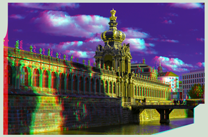 Zwinger of Dresden 3D ::: Anaglyph Stereoscopy by zour