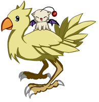 Moogle riding Chocobo by lane-nee-chan