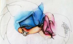 Sonamy Kiss Coloured Pencil WIP by MissTangshan95