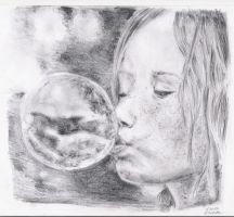 girl with a soap bubble by Spelthi