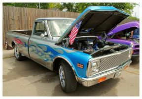 Cool Blue Flamed Chevy Truck by TheMan268