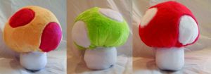 power up mushroom plushies by mylittlezombie