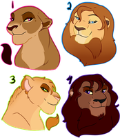 Lion Busts Adopts 100POINTS Each by oCrystal