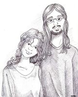 Matthew and Angel ink drawing by Earthenwing