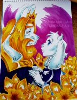 Asgore and Toriel by selene-nightmare69