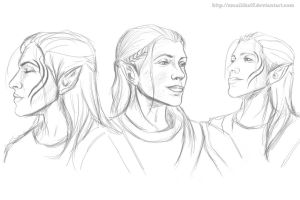 Zevran X3 sketches by Smilika