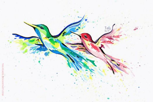 commission :: Watercolor Hummingbird Tattoo by TailyCaos