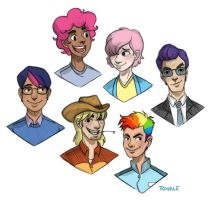 Ponies as human dudes by TRAVALE