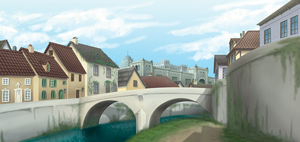 city canal painting by Wazaga
