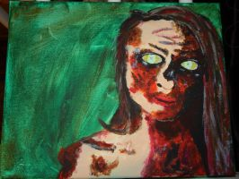 Zombie Girl Painting by Ms-Patient-Zero