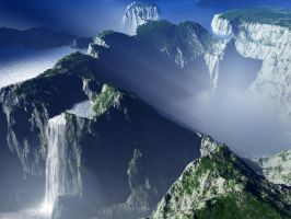 Craggy valley of the waterfall by oggyb