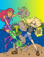 Starfire vs Terra by Charger426