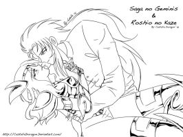 Roshio and Saga - Lineart by CastaliaDoragon
