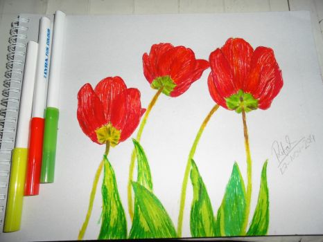 Wanted to Draw Tulips With Markers :D by iloverifat