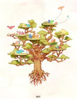 A tree full of birds by l3onnie
