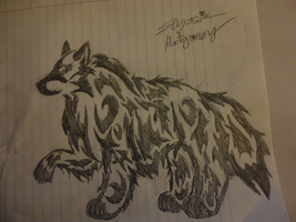 A big wolf tribal by Ember-Flame007