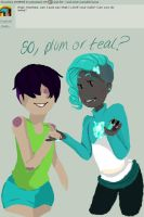 Teal or Plum by Ask-the-CandleTwins