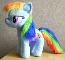 Large Rainbow Dash Plushie with Furry Mane by PlushieScraleos