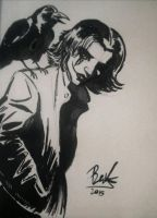 The Crow City Of Angels Brush Pen Sketch by oluklu