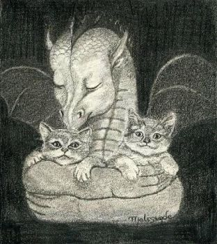 The dragon and two kittens by Melisende-FairyKiss
