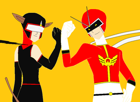 Viewtiful Man And Nitro Neko by V1EWT1FUL
