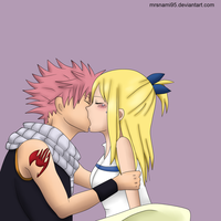 NaLu Kiss -colored- by MrsNami95